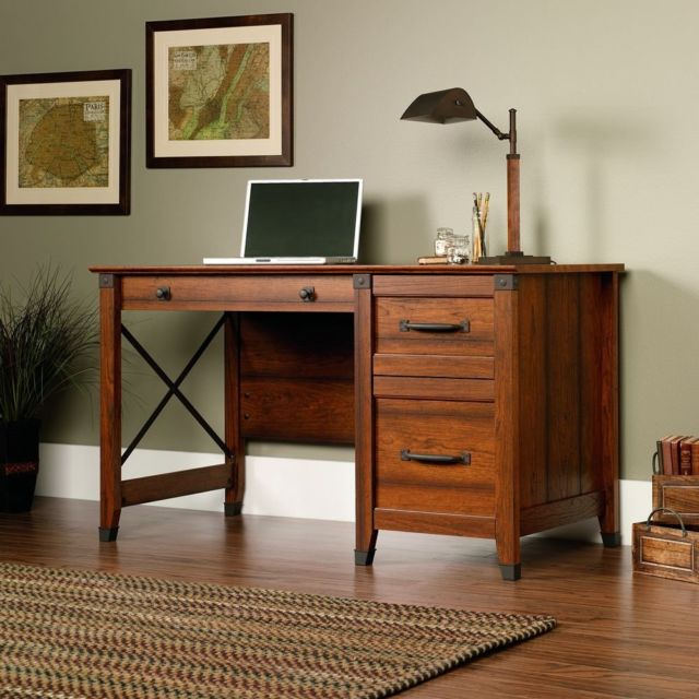 Retro Wood Desk Antiqued Writing Table Cherry Rustic Vintage Iron Frame  Drawers