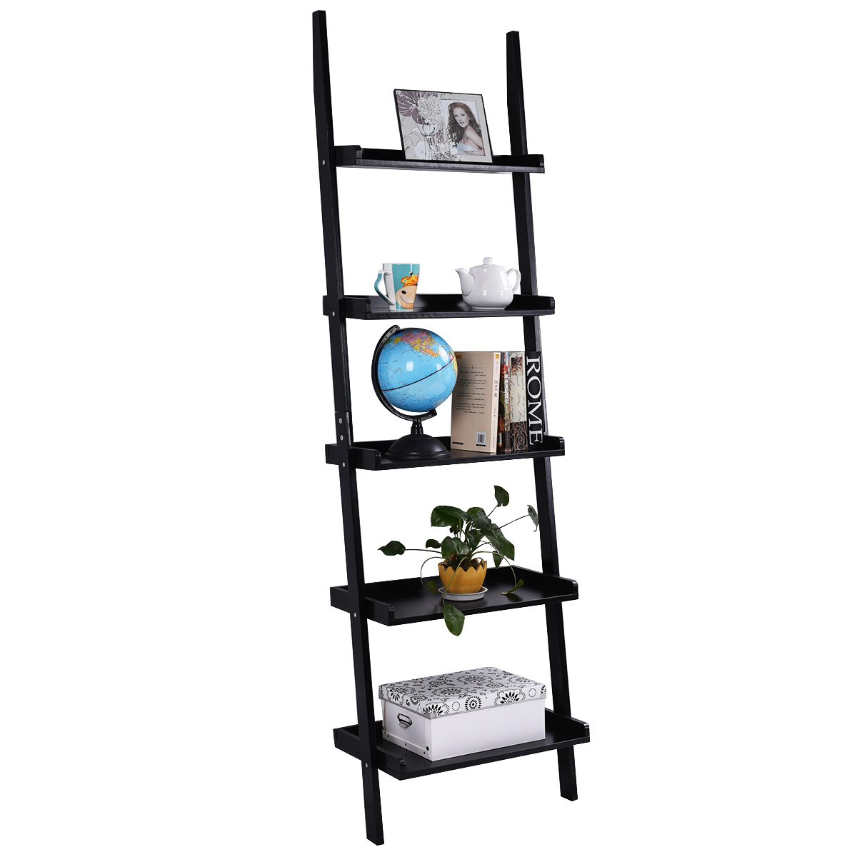Tangkula Ladder Bookcase 5-Tier Wood Leaning Shelf Wall Plant Shelf Ladder  for Home Office Modern Flower Book Display Shelf Storage Rack Stable  A-Frame