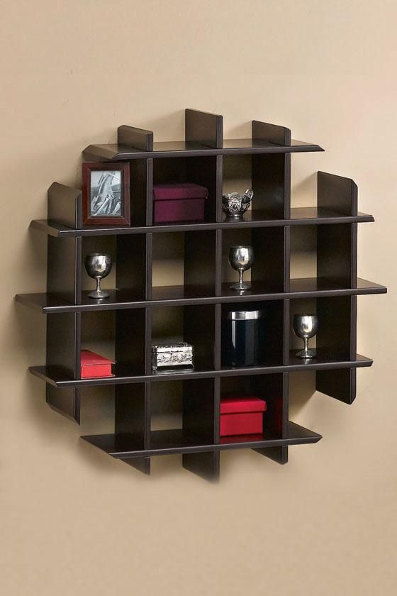 Home Design, Wooden Unique Wall Shelves Design: Modern Unique Wall