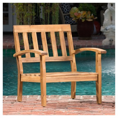 Peyton Set Of 2 Acacia Wood Club Chairs With Cushions - Beige