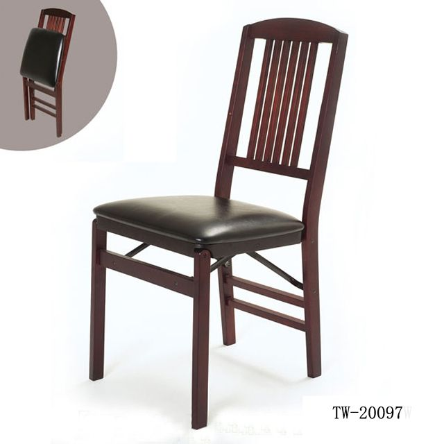 Folding Chair, #Wooden Folding Chair with Leather Seat, #Wood
