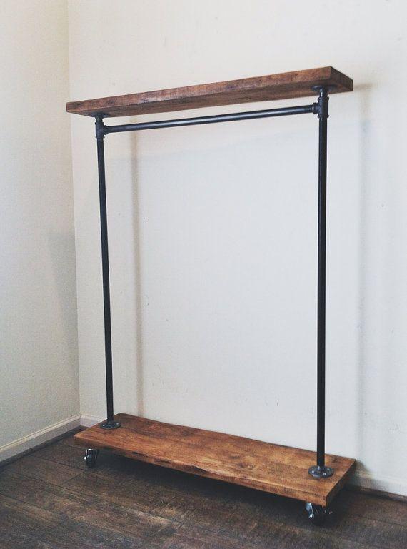Industrial Garment Rack with Top Shelf by TylerKingstonWoodCo