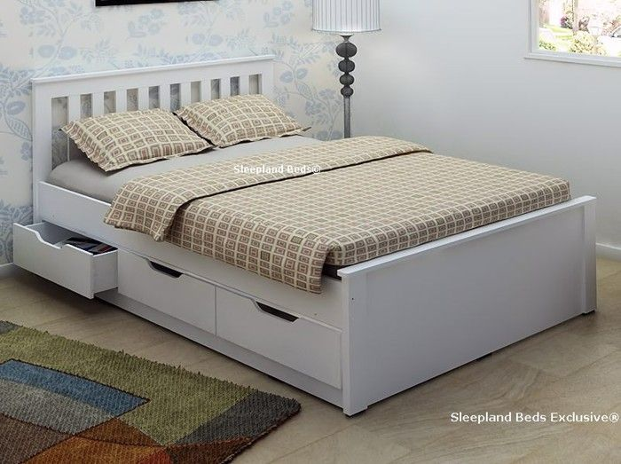 White Wooden Storage Bed Frame With Drawers - 4ft6 Double
