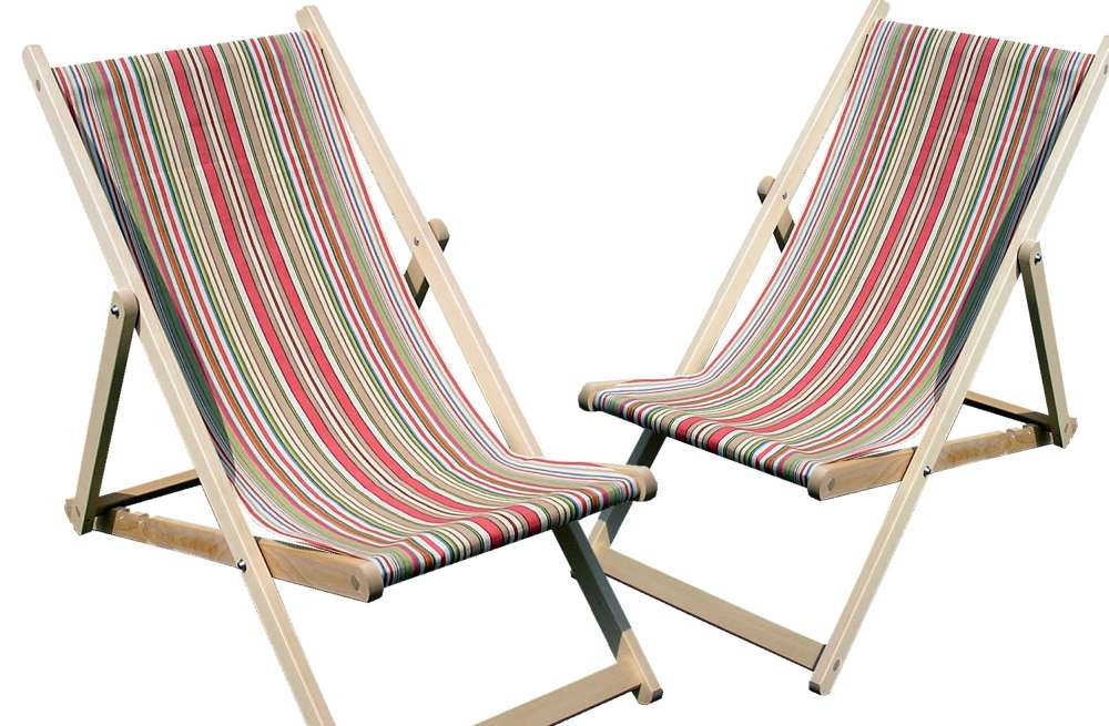 Coral Stripe Deckchairs Wooden Folding Deck Chairs Vintage Inside Remodel 5