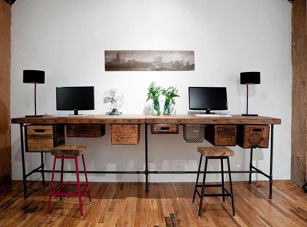 reclaimed wood and vintage crates used to create a lovely DIY work desk  [
