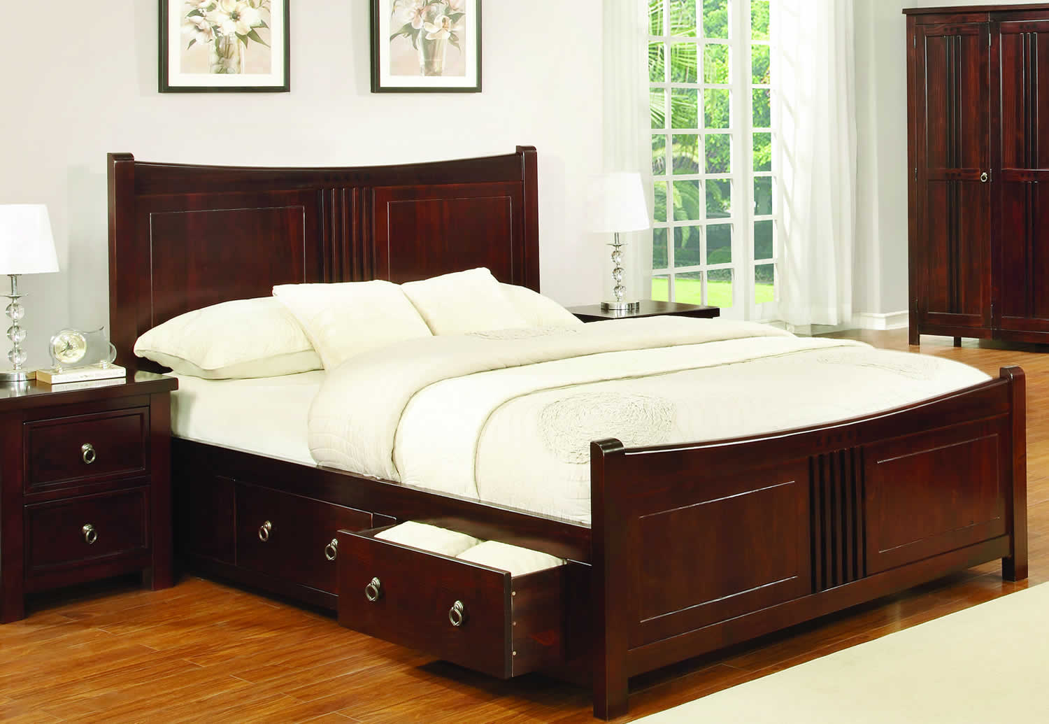 Sweet Dreams Curlew Cognac Drawer Bed Frame Solid Wood 150cm King Size 5FT