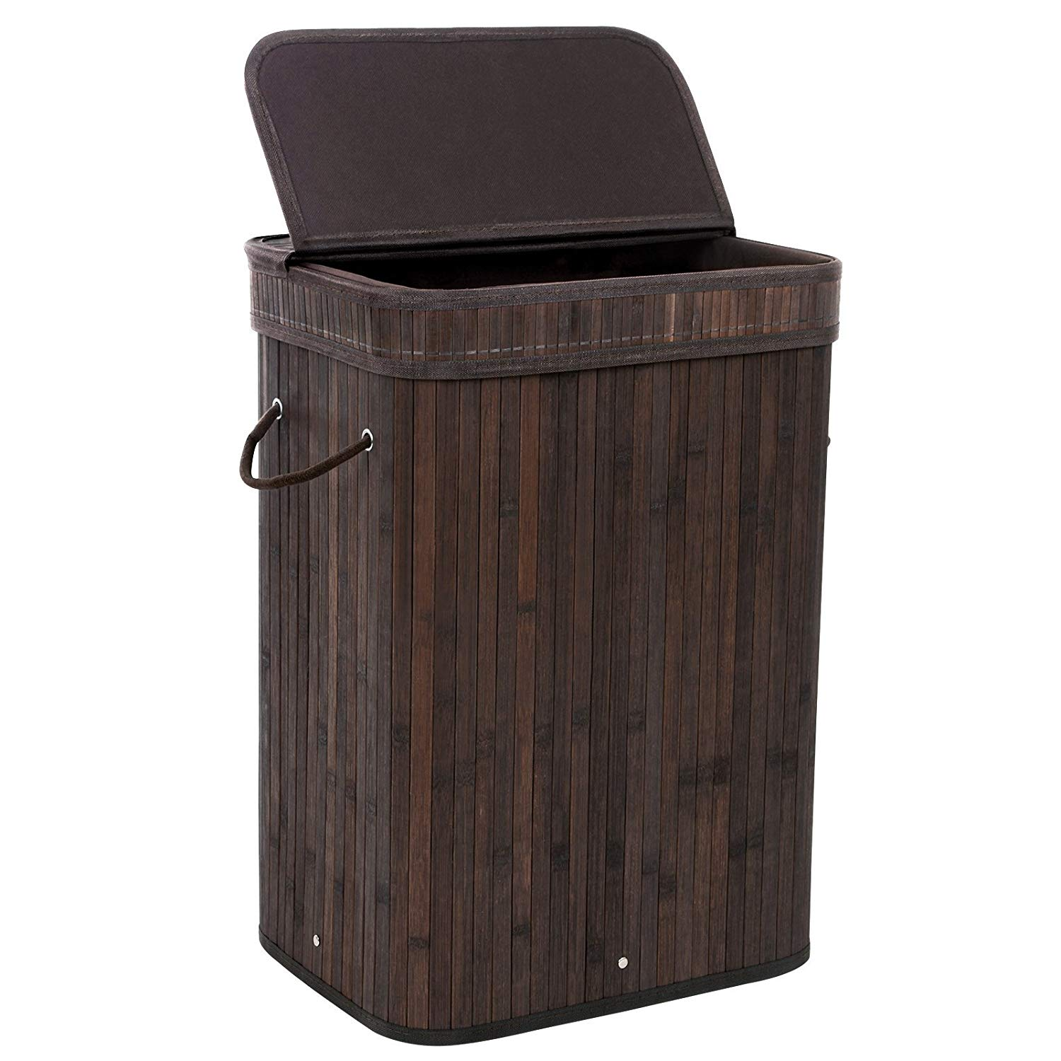 Traveller Location: SONGMICS Bamboo Laundry Hamper Storage Basket Foldable Dirty  Clothes Bin Box with Lid Handles and Removable Liner Rectangular 72L Brown  ULCB10B: