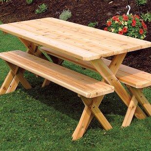 Rowland-Coman Cross-Leg Wooden Picnic Table