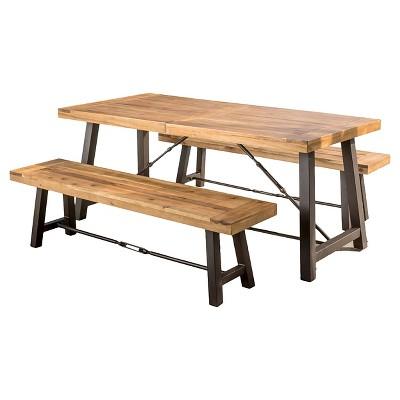 Catriona 3pc Acacia Wood Picnic Table - Teak Finish - Christopher Knight  Home