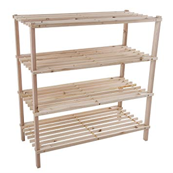 Lavish Home Wood Shoe Rack, Storage Bench u2013 Closet, Bathroom, Kitchen,  Entry Organizer, 4-Tier Space Saver Shoe Rack