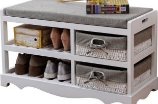 US $99.0  Contemporary Wooden Shoes Organizer Storage and Holder Bench with  Soft Seat Cushion for Home Entryway, Hallway Shoe Rack Ottoman-in Shoe