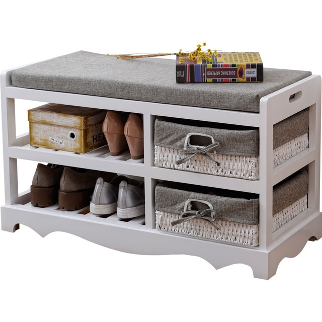 US $99.0 |Contemporary Wooden Shoes Organizer Storage and Holder Bench with  Soft Seat Cushion for Home Entryway, Hallway Shoe Rack Ottoman-in Shoe
