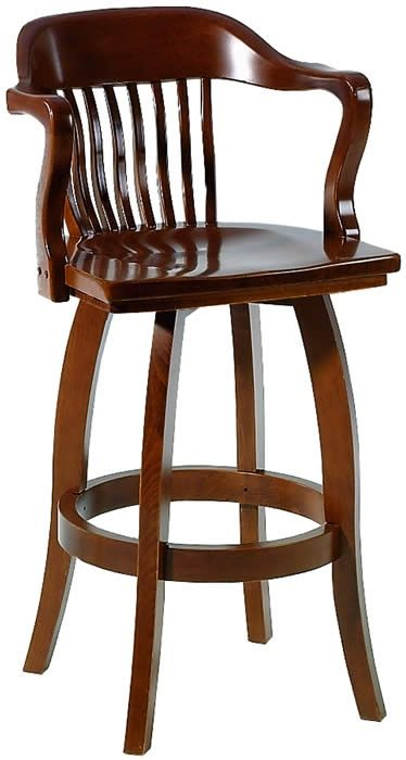 Different types of wooden swivel bar   stools with backs and arms