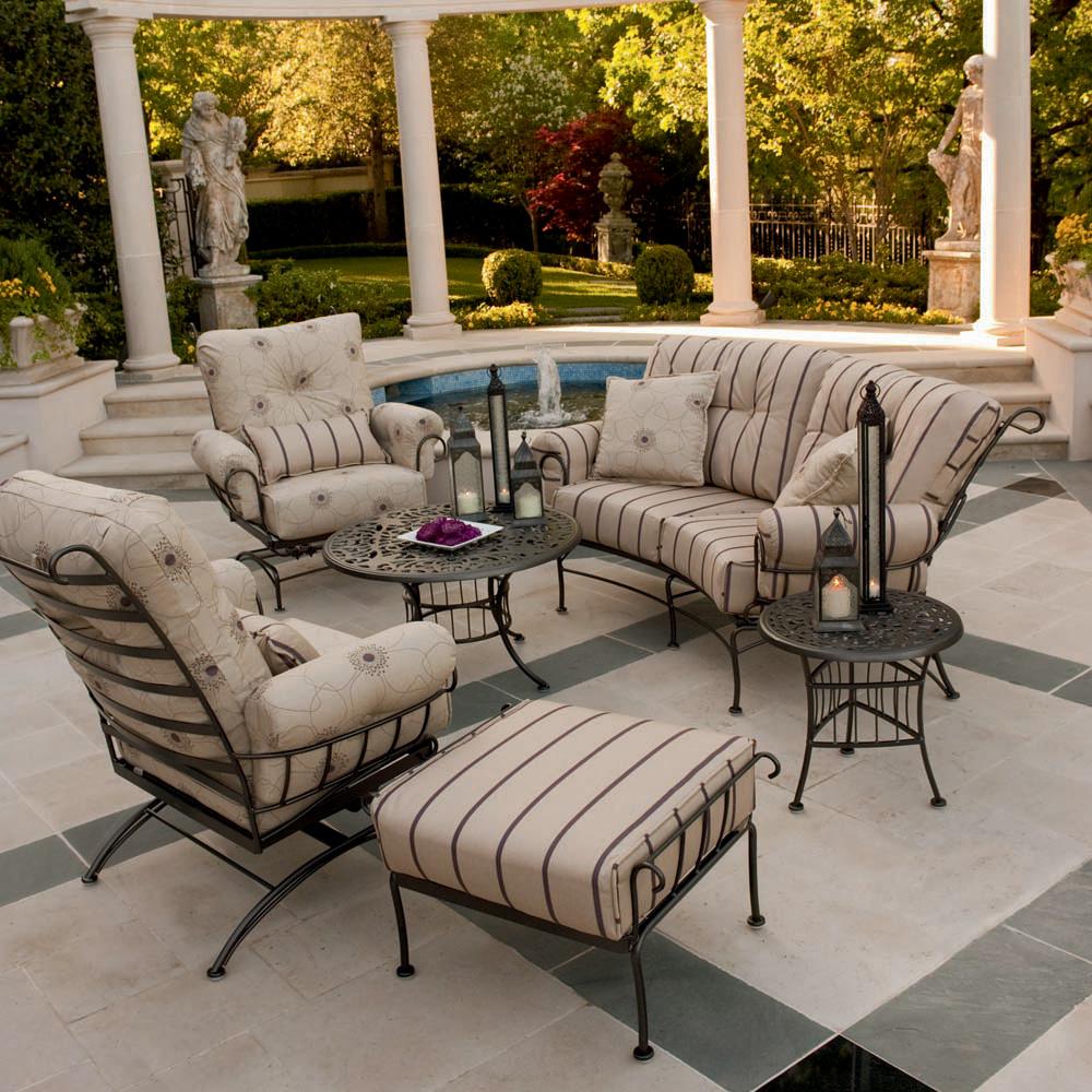 Woodard Terrace 6 Piece Patio Lounge Set - WOODARD-TERRACE-LOUNGE6. Terrace Wrought  Iron 6 Piece Patio Furniture