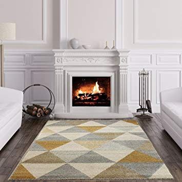 Amazon.com: The Rug House Focus Modern Ochre Yellow Grey Bright